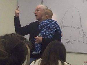 Israeli Professor Cradles Student's Distressed Infant